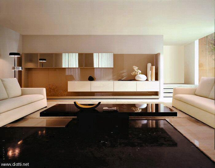 Salas Decoracion Moderna ~ Sala moderna y muy amplia con una mesa central baja y negra que