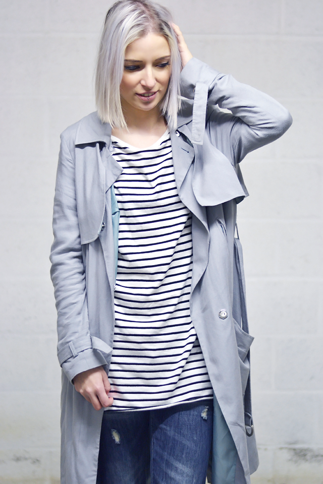 Outfit: asos trench coat mac, duster coat, grey, zara striped dress, primark jeans, boyfriend jeans, minimal fashion