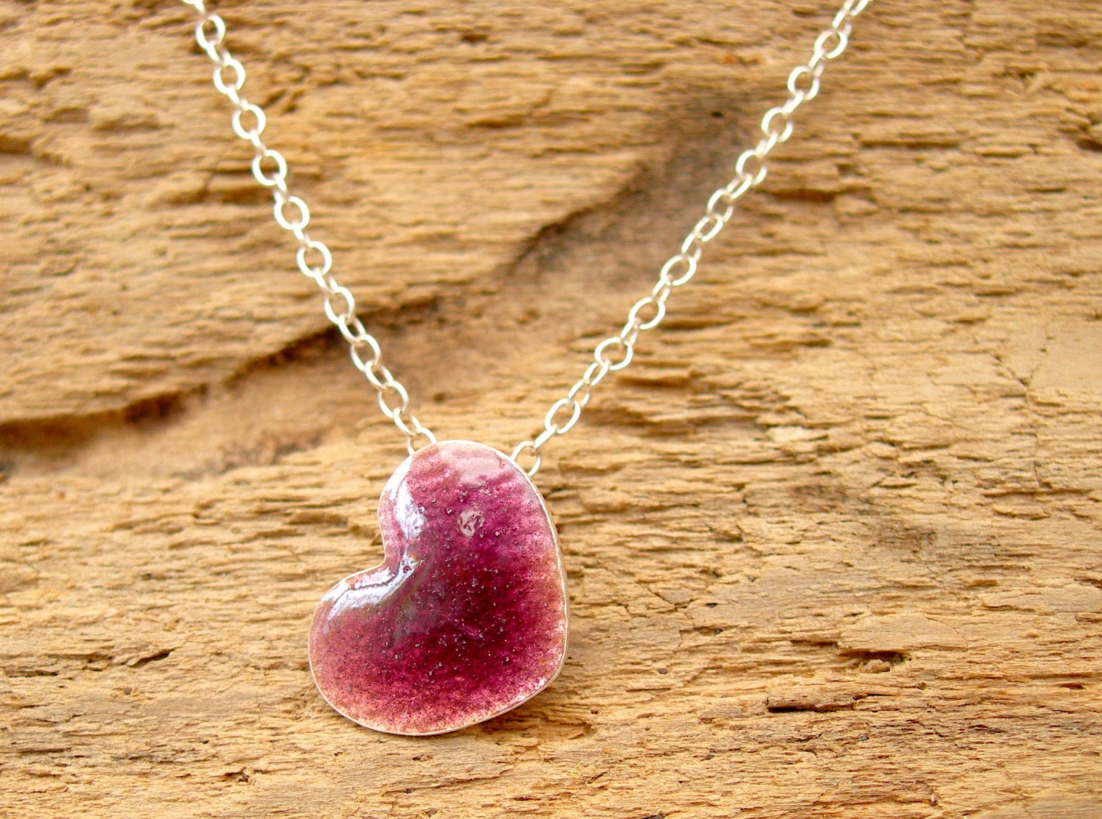 Silver Heart Pendant with Blackberry Enamel