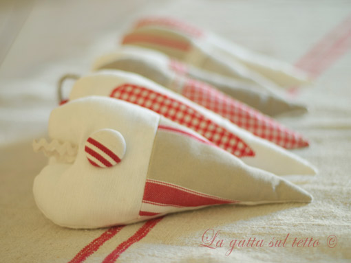 country fabric hearts
