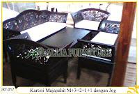 Set Meja dan Kursi Tamu Ukiran Kayu Jati Kartini Majapahit dengan Jog