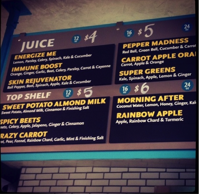 Foodtrainers march 2014 for Whole food juice bar menu