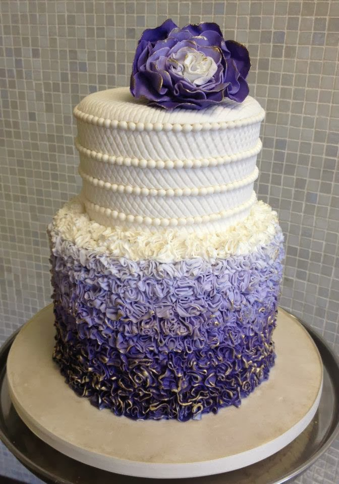 purple flower ombre wedding cake
