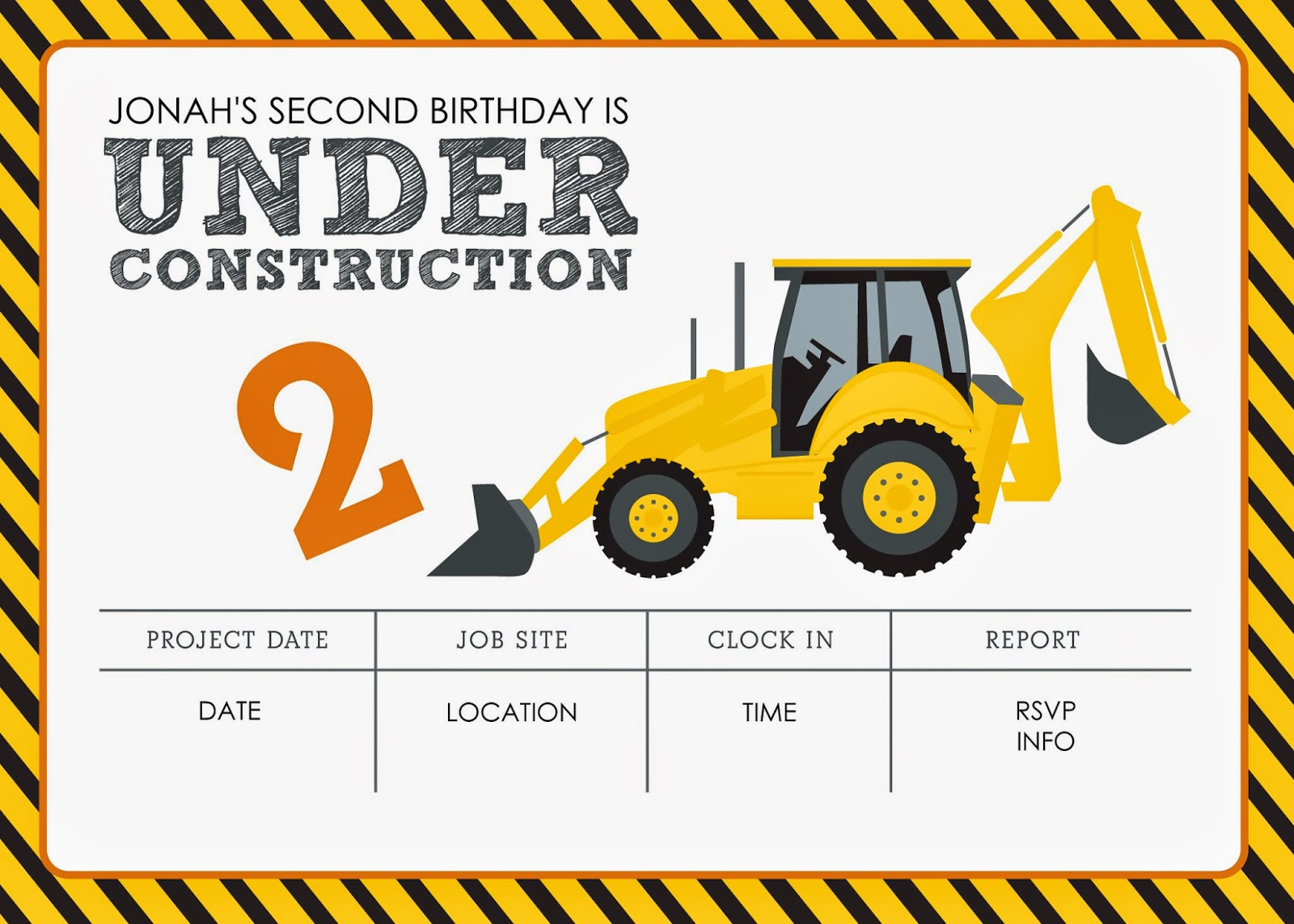 Invaluable image with free printable construction birthday invitations
