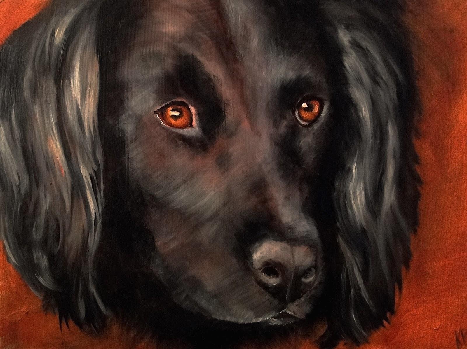 oil painting, portrait of a black dog, spaniel painting, pet portrait by Karen