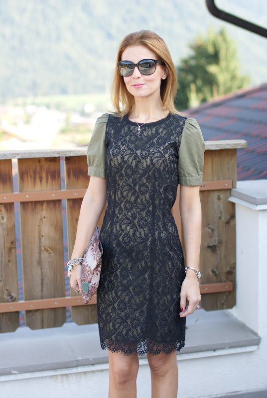 army green and lace dress, wedge pumps