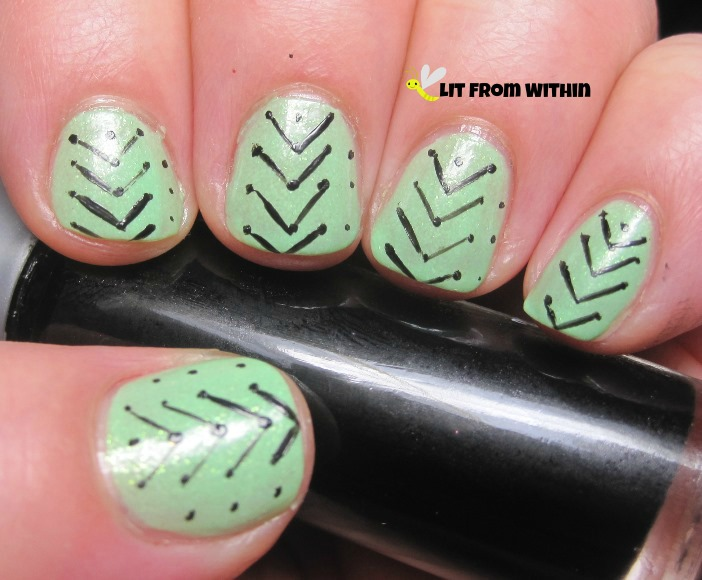 I went towards the tip first, so the next line goes towards the nail bed