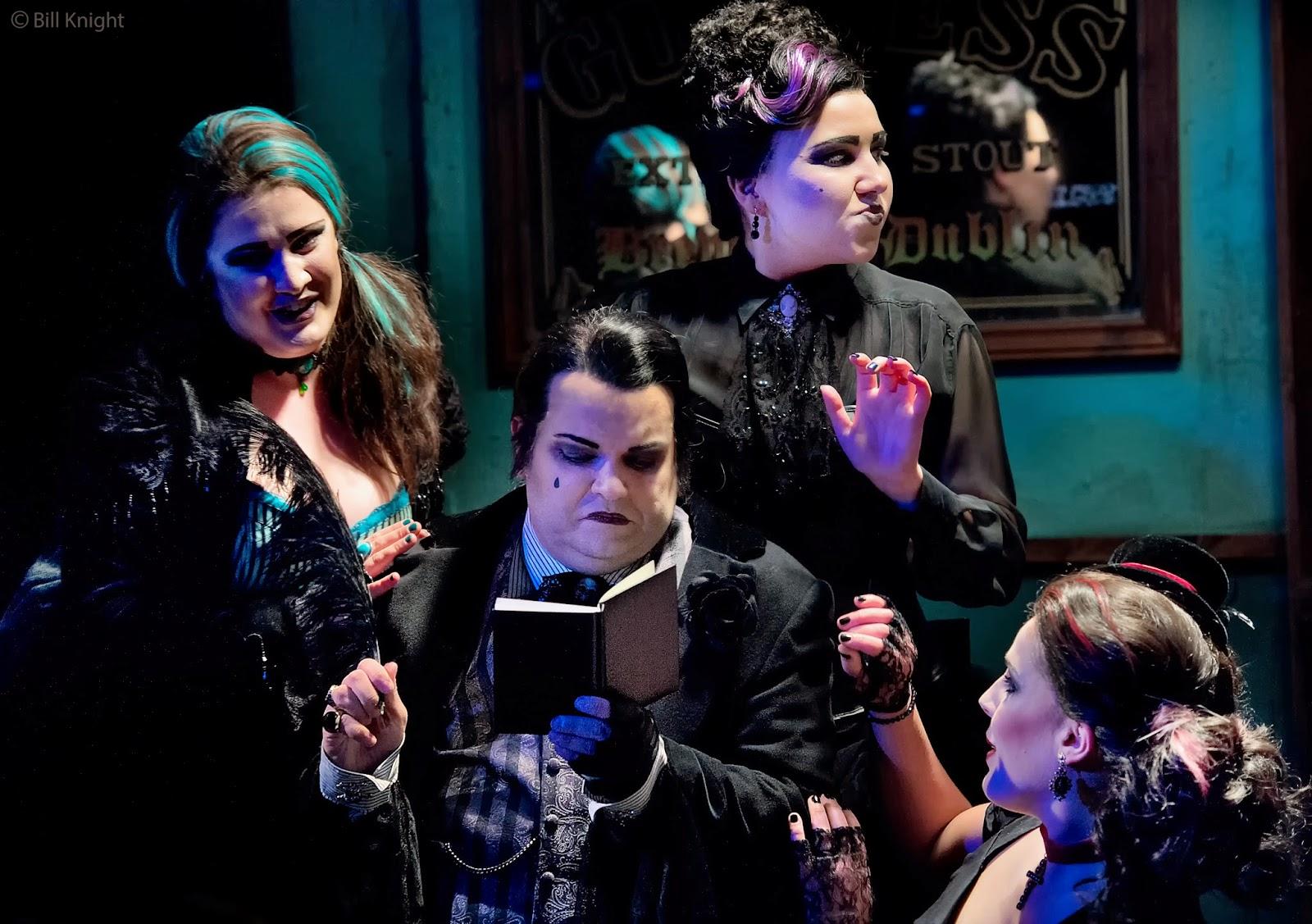 Patience - Charles Court Opera - Andrew Tweedale as Saphir, David Phipps-Davis as Bunthorne, Amy J Payne as Lady Jane and Helen Evora as Angela, photo Bill Knight