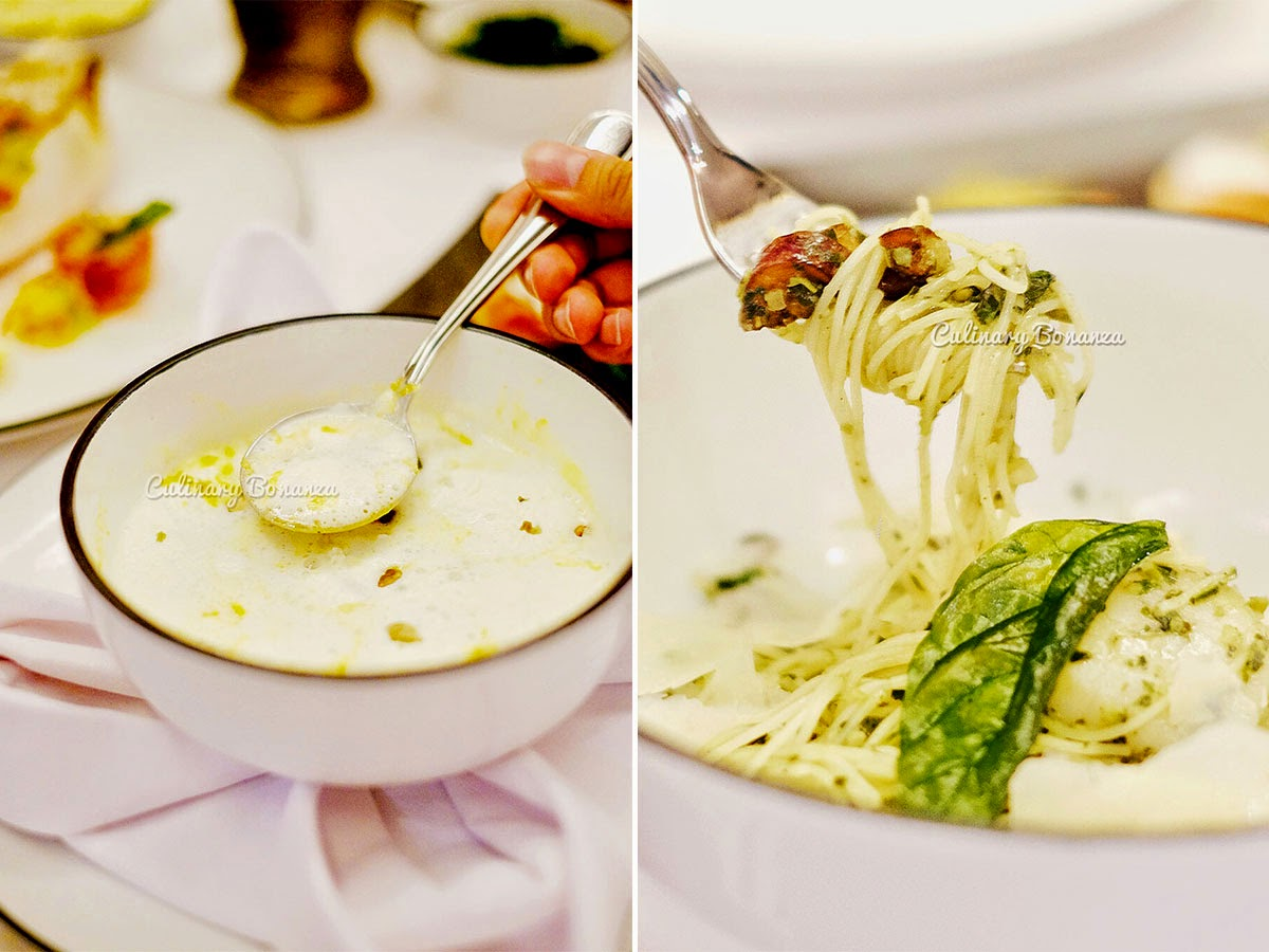 Left: Chicago Spicy Pumpkin Soup - served with pumpkin seeds & whipped cream   Right: angel hair (www.culinarybonanza.com)