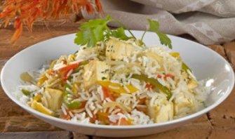 Arroz salteado con Verduras y Tofu