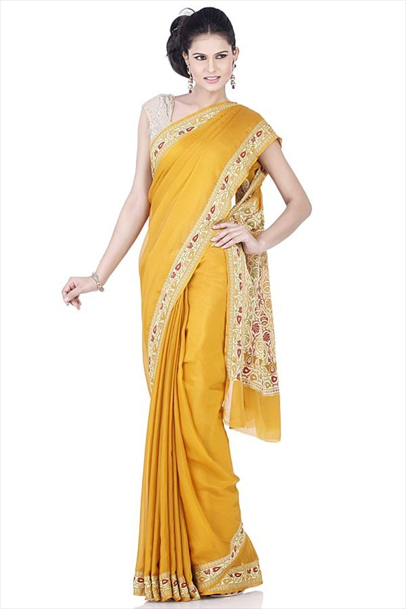 Old Gold Crepe Banarasi Saree