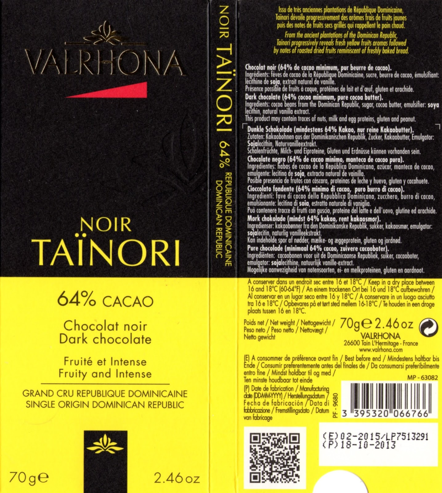 tablette de chocolat noir dégustation valrhona noir taïnori 64