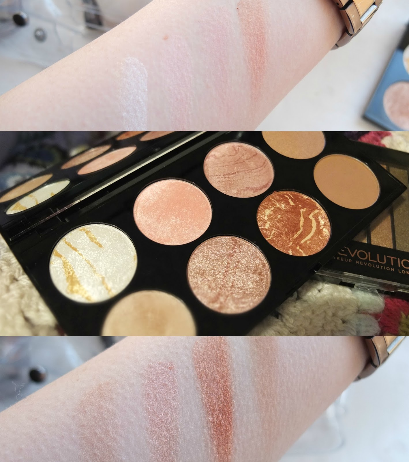 Ultra Blush and Contour Palette Golden Sugar Swatches