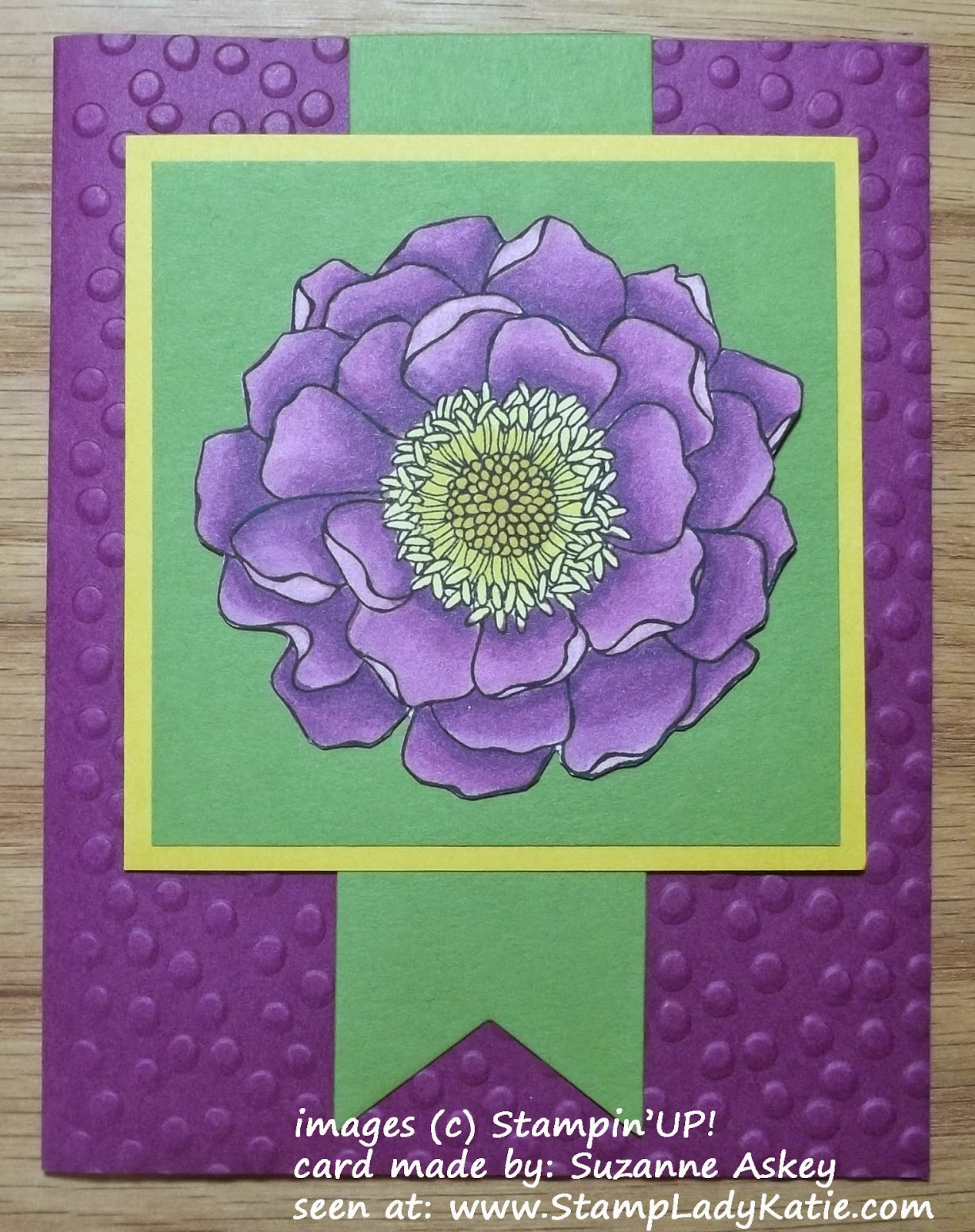 Card made with Stampin'UP!'s Blended Bloom stamp and colored with the new Blendability alcohol markers.