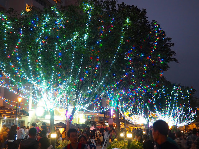 Colourful Christmas lights on trees along Stanley waterfront, Hong Kong