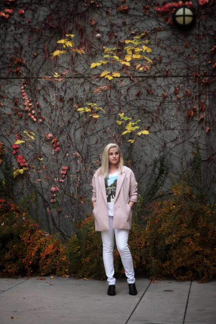 oversized light pink blazer