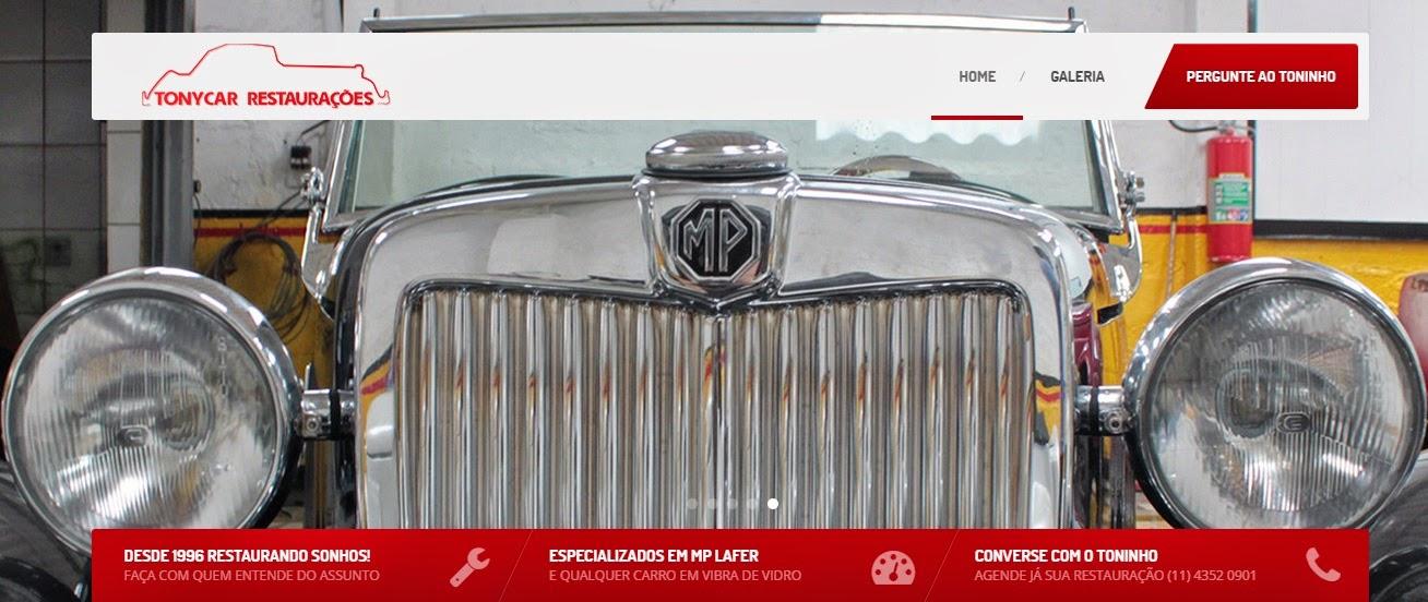 Reprodução da capa do site da Tony Car Restaurações.