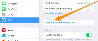 Delete safari cookies cache history on iPhone