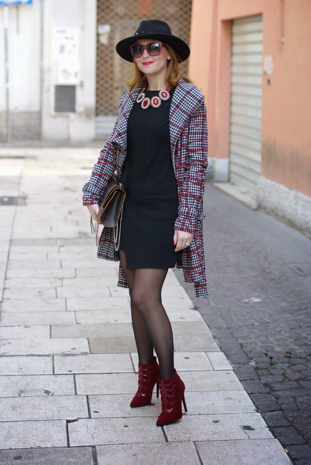 Smash! Moneton tartan jacket worn with Studded fedora hat and black sheer tights with stiletto ankle boots, Fashion and Cookies, fashion blogger