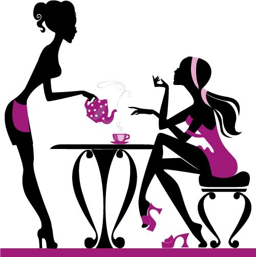 Chicas tomando café 4 - Vector