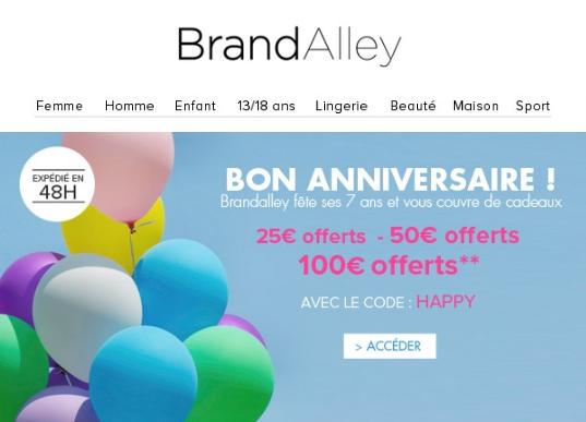 Promotion BrandAlley: 10€, 25€, 50€, 100€ offerts selon le montant de votre commande bon plan shopping promo brandalley code promo brandalley