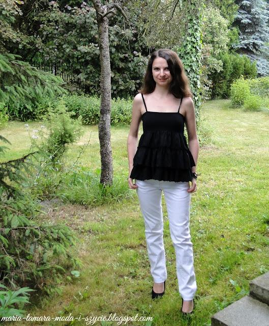 bluzka czarna z falbanami