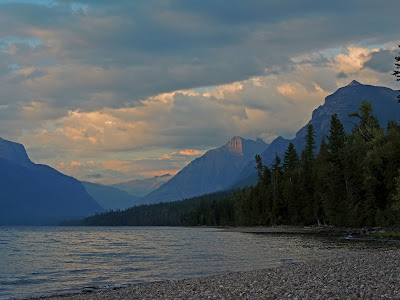 approaching sunset over Lake McDonald in Glacier National Park