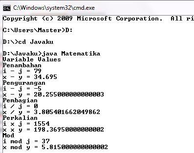 Program Penambahan, Pengurangan, Perkalian, Pembagian dan MOD dengan Java