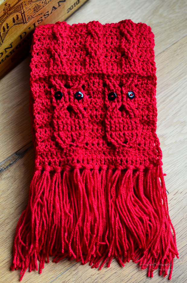 Free Crochet Pattern For Cable Scarf : A Time For All Seasons: Free Crochet Owl Cabled Scarf