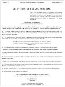 LEI nº15.869/16 - MINI-PRONTUÁRIO!