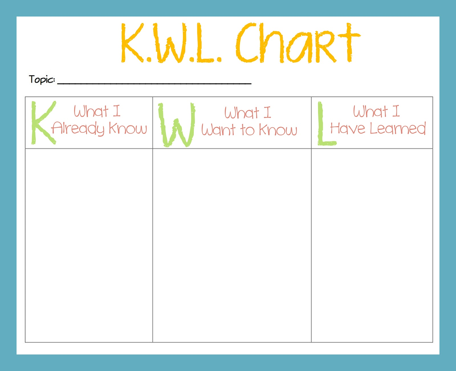 Tween Teaching: KWL Chart