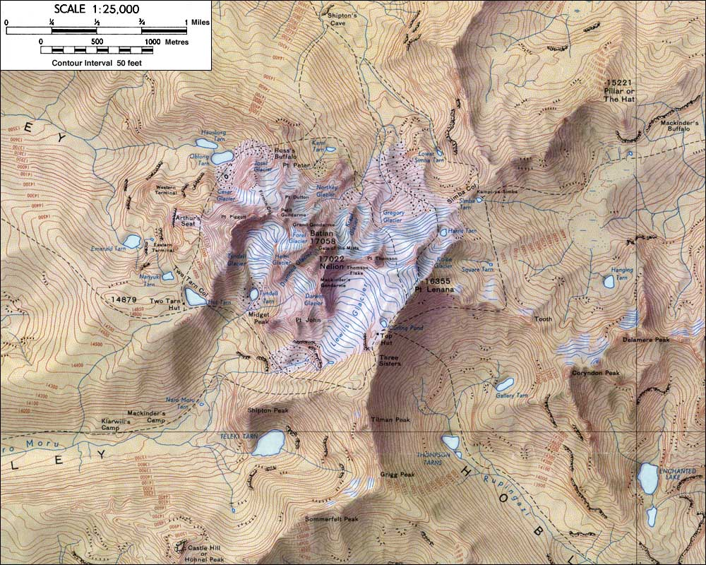 a topographic map is a type of isopleth map which uses contouring lines to represent elevation this map represents the changes in elevation of mt kenya