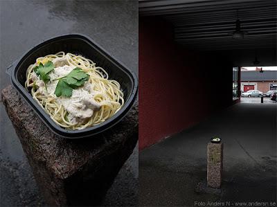 carbonara, pasta, spagetti, diptyk, carbonaradiptyk, utomhus, borås, färdigmat, färdiglagad carbonara, foto Anders N