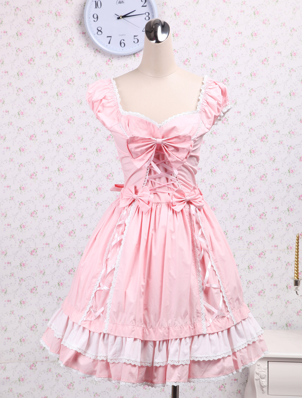 Pink Bow and Ribbon Sweet Lolita Dress