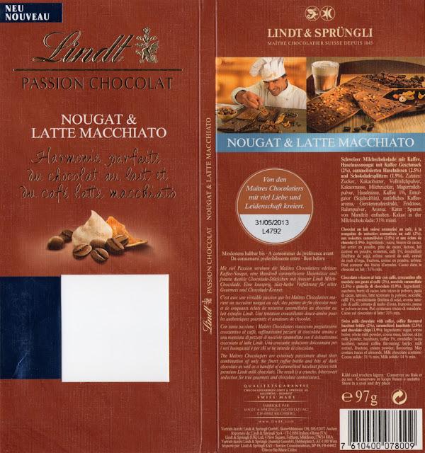 tablette de chocolat lait gourmand lindt passion chocolat nougat & latte macchiato