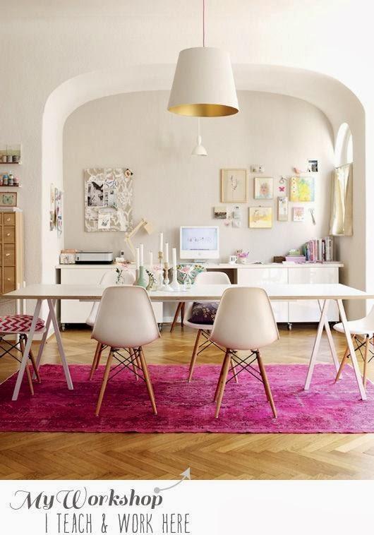 pink rug magenta dining room home decor white colour scheme