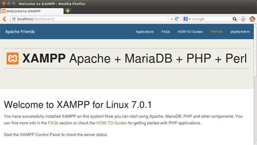 instalasi xampp di linux berhasil