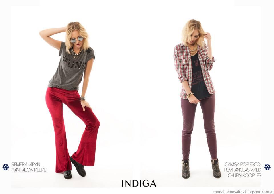 Camisas a cuadros, remeras y pantalones chupines y oxford de la colección Indiga otoño invierno 2014.