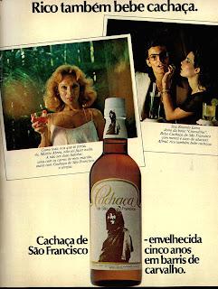 propaganda cachaça de São Francisco - 1976. anos 70.  Reclame 1976.  década de 70. os anos 70; propaganda na década de 70; Brazil in the 70s, história anos 70; Oswaldo Hernandez;