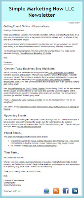 October 2011 Simple Marketing Now Newsletter