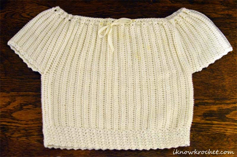 crochet baby boy baptism top