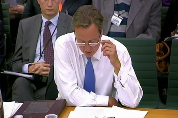 David Cameron's First Show of His New Reading Glasses
