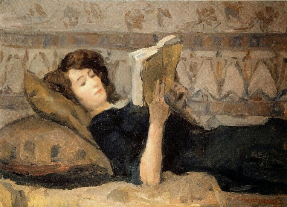Isaac Israels - Girl Reading on Sofa, 1920