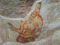 Fragment of ancient Sigiriya fresco shows us perfect beauty face and body, topless, mysterious Lady