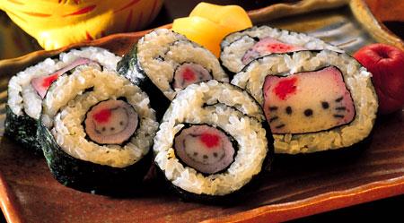 Hello kitty sushi jättegulligt men tyvärr inte den sushi vi åt