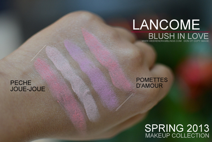 Lancome in Love Spring 2013 Makeup Collection Pink Peach Blush Indian Beauty Blog Swatches Pommettes DAmour Peche Joue-Joue