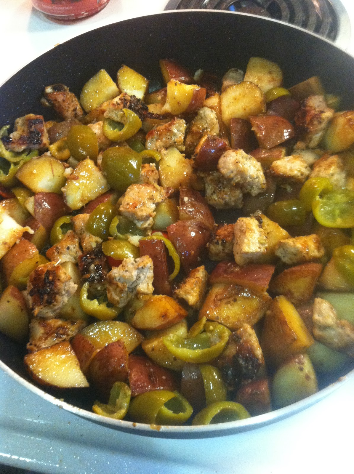 Return The Pork To The Skillet, Adding The Peppers If Using Pickled Peppers,  Cover And Cook Until The Potatoes Are Tender, About 5 Minutes More