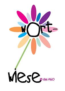 """Bunte Illustration einer Blume mit dem Titel """"Wortwiese von das A&O"""""""