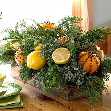 A Small Arrangement For The Kitchen Table With Mixed Citrus Cloves Fresh Greens Can Also Be A Simple Way To Add A Fresh Festive Look To Your