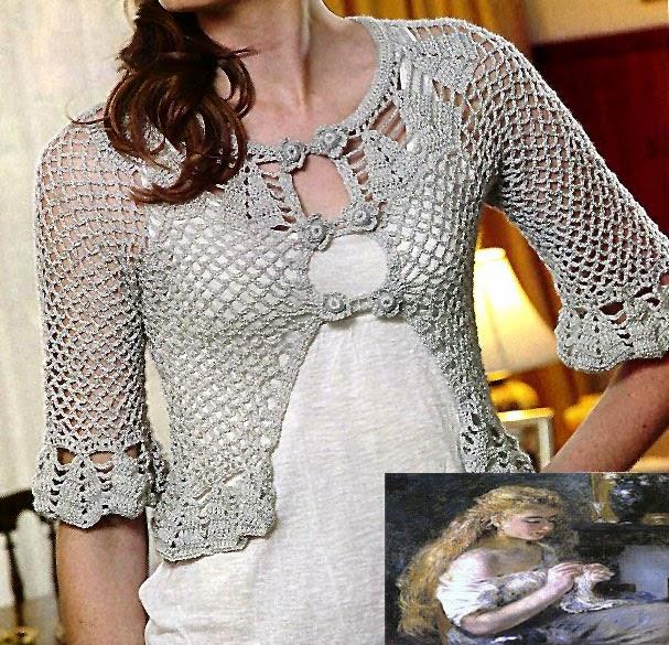tejidos artesanales en crochet: bolero con delicado encaje tejido en ...